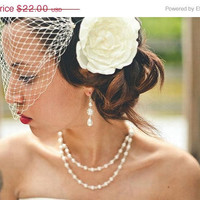 ON SALE Birdcage Bandeau Veil - Ivory  Wedding Blusher - French Netting - Made to Order in Ivory White or Black