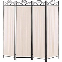 Folding Screen with Metal Frame & Gathered Fabric Panels, Black And White
