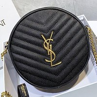 YSL New fashion leather round chain shoulder bag crossbody bag Black