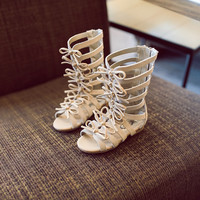 Give Away~~HOT Brand Princess Girls Gladiator Sandals 2016 Summer Baby/Toddle Shoes Real Leather Children Rome Boots BOW Sandals
