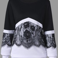 Plus Size Two Tone Eyelash Lace Trim Sweatshirt