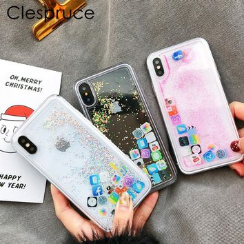 Clespruce Cute Amusing Mobile apps Icon pattern phone Case cover For iphone X 6 6s Plus 7 8 plus Glitter Liquid Quicksand Cases
