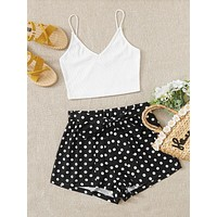 SHEIN Solid Crop Cami Top & Self Belted Polka Dot Shorts Set