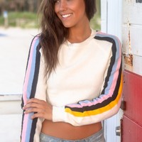 Ivory Knit Crop Top with Long Sleeves