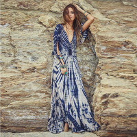 Blue Tie-dye Deep V-Neck Maxi Dress