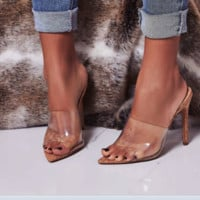 Transparent film fish tip toe stiletto heels word slippers