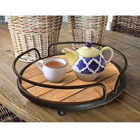 Round Tubular Metal Frame Tray with Plank Style Wooden Base, Brown and Black By Casagear Home