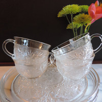 """Mid Century Anchor HockingCrystal Sandwich Pattern Dessert, Salad Luncheon Plates and Cups with cup insert  9"""" plates cups  Depression Glass"""