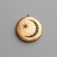Antique Moon & Star Locket with Darkened Brilliants. Crescent. Bates and Bacon.