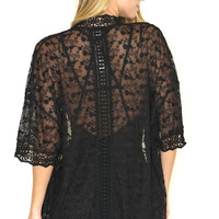 Laced Fields of Flowers Kimono - Black
