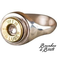 Handcrafted Silver 9mm Bullet Casing Ring