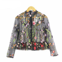 Embroidery Shirt Women Colorful Floral Blouse mesh Tops Black