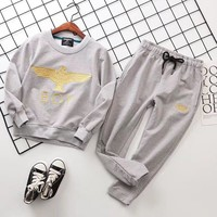 London Boy Girls Boys Children Baby Toddler Kids Child Fashion Casual Top Sweater Pullover Pants Trousers Set Two-Piece