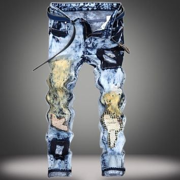 Ripped Holes Strong Character Weathered Patchwork Jeans [10366811907]