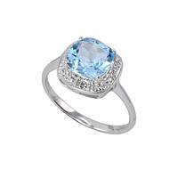 Sterling Silver .01 TCW Genuine Diamond Ring with Square Blue Topaz Center Stone