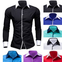Color Contrast Trim Slim Fit Shirt