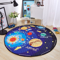 outer space play mat cartoon planet pattern storage bag tapete carpet kids room round floor mat outdoor exersise 3d rugs
