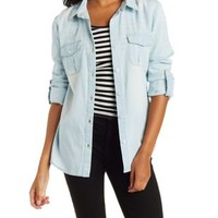 Lt Wash Denim Roll Tab Denim Chambray Shirt by Charlotte Russe