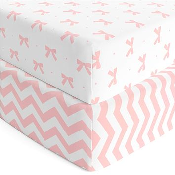 Baby Crib Sheets Girl 2 Pack | Jersey Cotton Fitted Crib Sheet Set and Toddler Bed Sheets | Pink Baby Girl Crib Sheets | Standard Crib and Toddler Bed Mattress Size 28 x 52 Inch