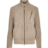 River Island MensStone Holloway Road suede bomber