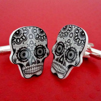 Cufflinks Sugar Skull Cuff Links Day Of The by TheSpangledMaker
