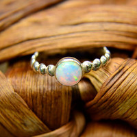 Sale - 20% off - Stacking Ring in Sterling Silver and Opal, Silver Bead Ring with Opal Gemstone