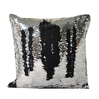 Silver and Black Decorative Throw Sequin Solid Pillow Cover Square