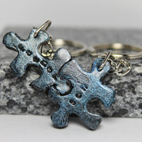 Puzzle Pieces Father and Son Keychains set Set 3