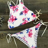 Fashion Women Bandage Swimsuit Bathing Suit Floral Print Bikini(Both sides can wear)