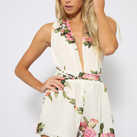 Astoria Playsuit - White Floral
