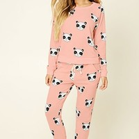 Happy Panda Print PJ Pants