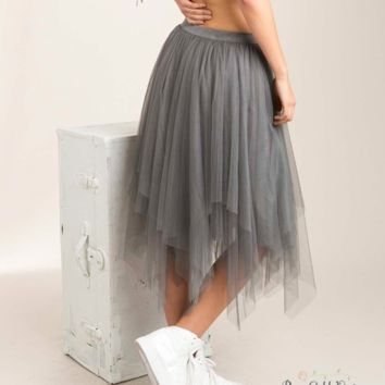 Layered Tulle Tutu Skirt - Gray - Small or Medium only