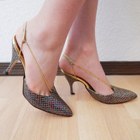 Vintage 80 Flings Pointy Toe Glitter Gold Chain Party Holiday High Heel Womens 6 6.5