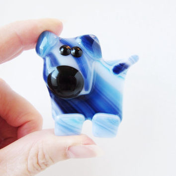 Whimsical Dog Magnet - Fused Glass Magnet - Kitchen Refrigerator Magnet - Gift Under 10 - Fridge Magnet - Unique Dog Gift  - Pet Lover Gift