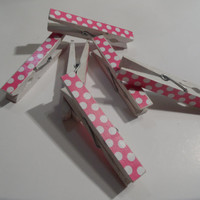 Clothespins - Hot Pink and White Polka Dot - Decorated, Wooden, Painted - set of 6