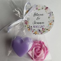 Bridal Shower Favors | Heart & Rose Soaps for Wedding Favors or Baby Showers Custom Scent with personalized tags, Pack of 10