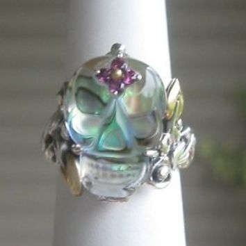 BARBARA BIXBY STERLING & 18K ABALONE DOUBLET AND GEMSTONE SKULL RING SIZE 9