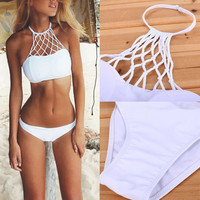 Sexy Bikini Swimsuit Women Swimwear Mesh Crochet Crop Tops Beach Bathing Suit L07