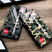Fashion Japan street Sup Tempered Glass Case for iPhone 6 6S plus 7 8 8plus X 10 Army Camo Camouflage champion brand cover