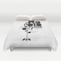 Last flowers Song - Radiohead - black version Duvet Cover by LilaVert | Society6