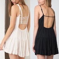 Hollow Out Summer Sexy Backless Spaghetti Strap Beach Skirt One Piece Dress [9788322317]