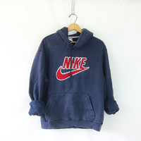 vintage NIKE hoodie sweatshirt. faded washed out blue sweatshirt. slouchy sweatshirt ATHLETICS Sports Sporty Prep school jogging top