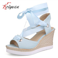2017 Summer peep toe wedges high heels women shoes for party solid cross tied shoes ultra sweet platforms woman female sandals