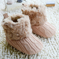3-18 M Baby Girl Boy Snow Boots Knit Bowknot Faux Fleece Soft Sole Kids Woolen Yam Knit Fur Winter Booties