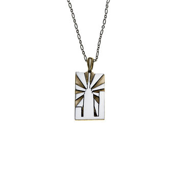 NYC Empire State Building Sterling Silver & Brass Necklace