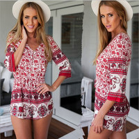 Red Floral Print V-Neck Romper