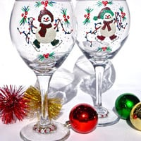 Hand Painted Wine Glasses With Skating Snowmen And Wine Glass Charms