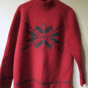 Oversized Sweater turtleneck pullover snowflake patterned rustic ski russet red charcoal grey wool vintage 90s women medium Eddie Bauer