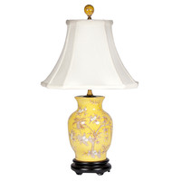 Yellow and White Porcelain Lamp