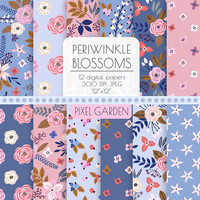 Shabby Floral Digital Paper. Pink, Blue Rose, Peony Blossom Patterns. Periwinkle Cottage Chic Scrapbooking Paper. Navy, Pink Vintage Flowers